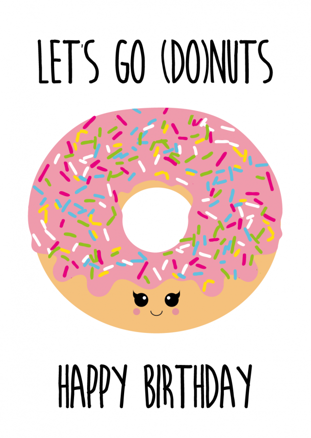 ansichtkaart donut met tekst let s go nuts happy birthday