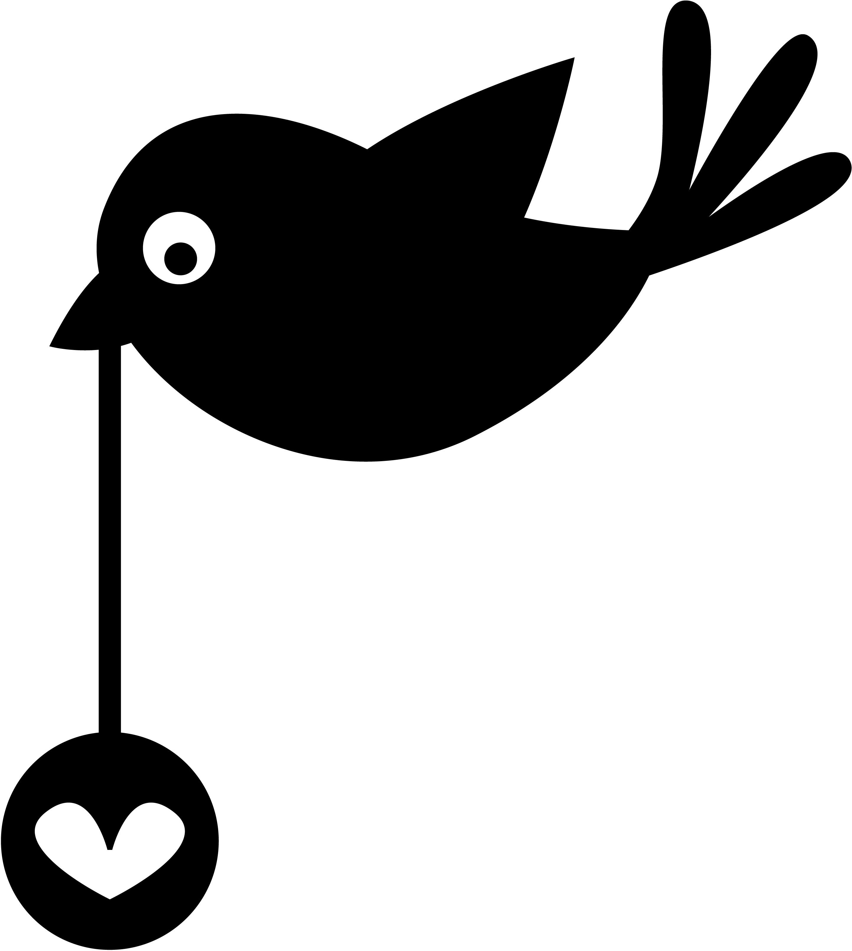 Velours Strijkapplicatie Vogel Met Hart Flock