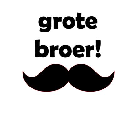 Strijkapplicatie Grote Broer Snor Velours