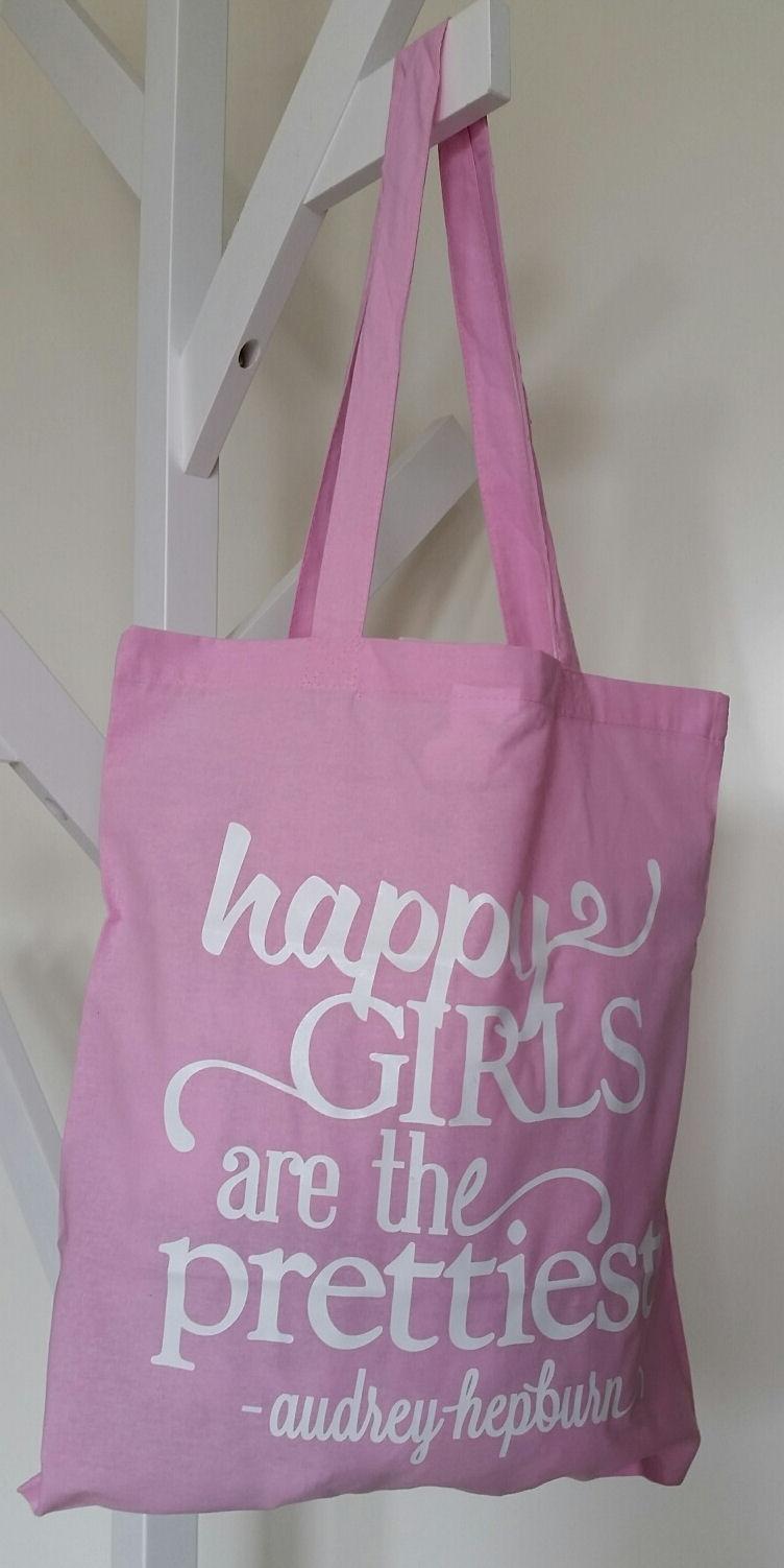 Rieten Tas Met Lang Hengsel : Katoenen tas zacht roze met witte tekst
