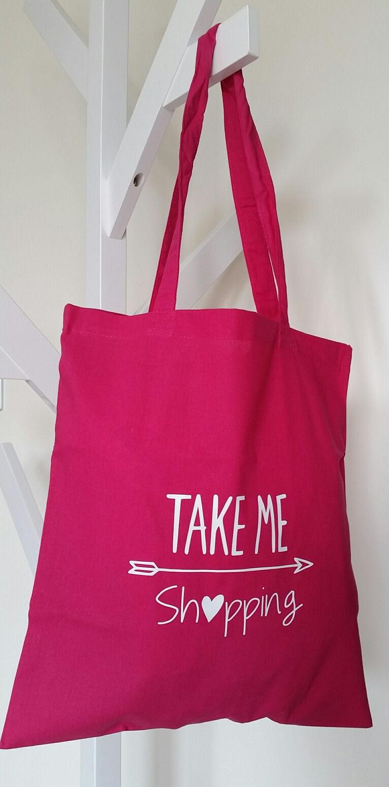 Katoenen tas roze : Boodschappen tasje katoen in fuchsia met tekst