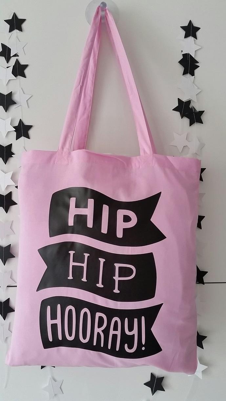 Katoenen Tassen Hip : Katoenen tas zacht roze met tekst hooray