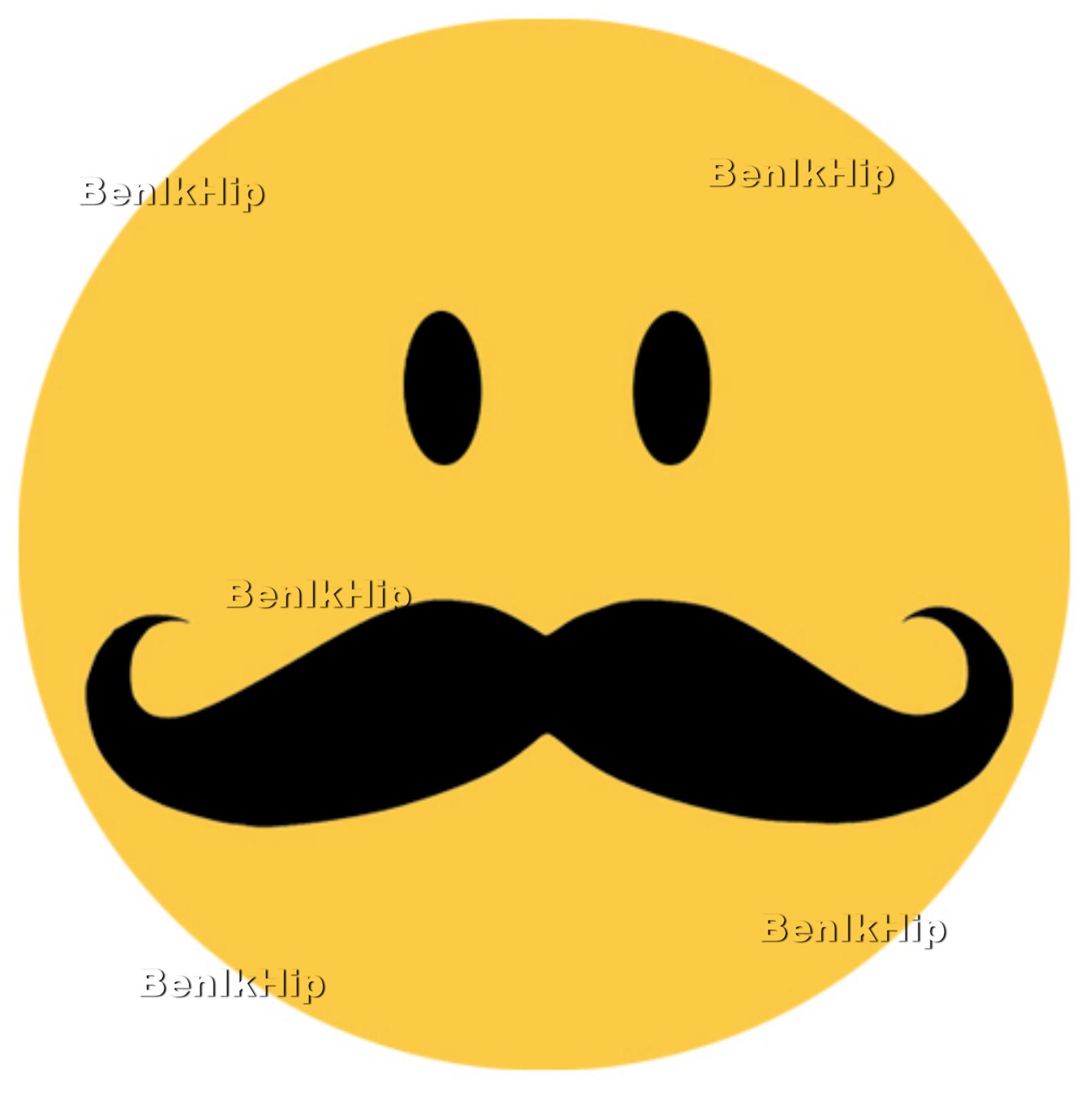 strijkapplicatie smilie met snor