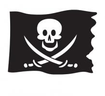 Kleurplaten Piraten Vlaggen.Velours Flock Applicatie Piraten Vlag