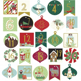 Adventskalender labels 25 stuks