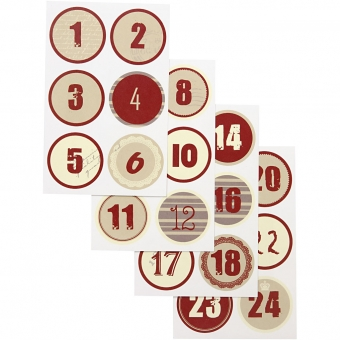 Adventskalender stickers DIY 4 cm