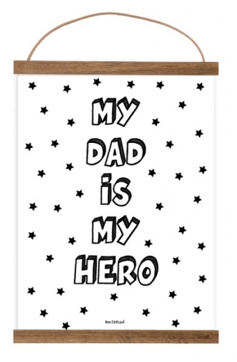 Free Printable Postermy dad is my hero, vaderdag