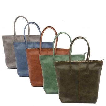 Natural Bag dames shopper met rits grijs